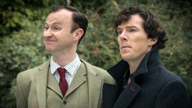 Benedict Cumberbatch and Mark Gatiss as Sherlock and Mycroft Holmes in BBC Sherlock Season 3 Episode 3 His Last Vow