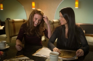 Elementary guest star Liza J.  Bennett as Hannah Gregson with Lucy Liu as Joan Watson in Elementary Season 3 Episode 20 A Stitch in Time