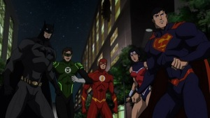 Superman Batman Wonder Woman Flash Green Lantern in Justice League War DC Universe Animated Movie